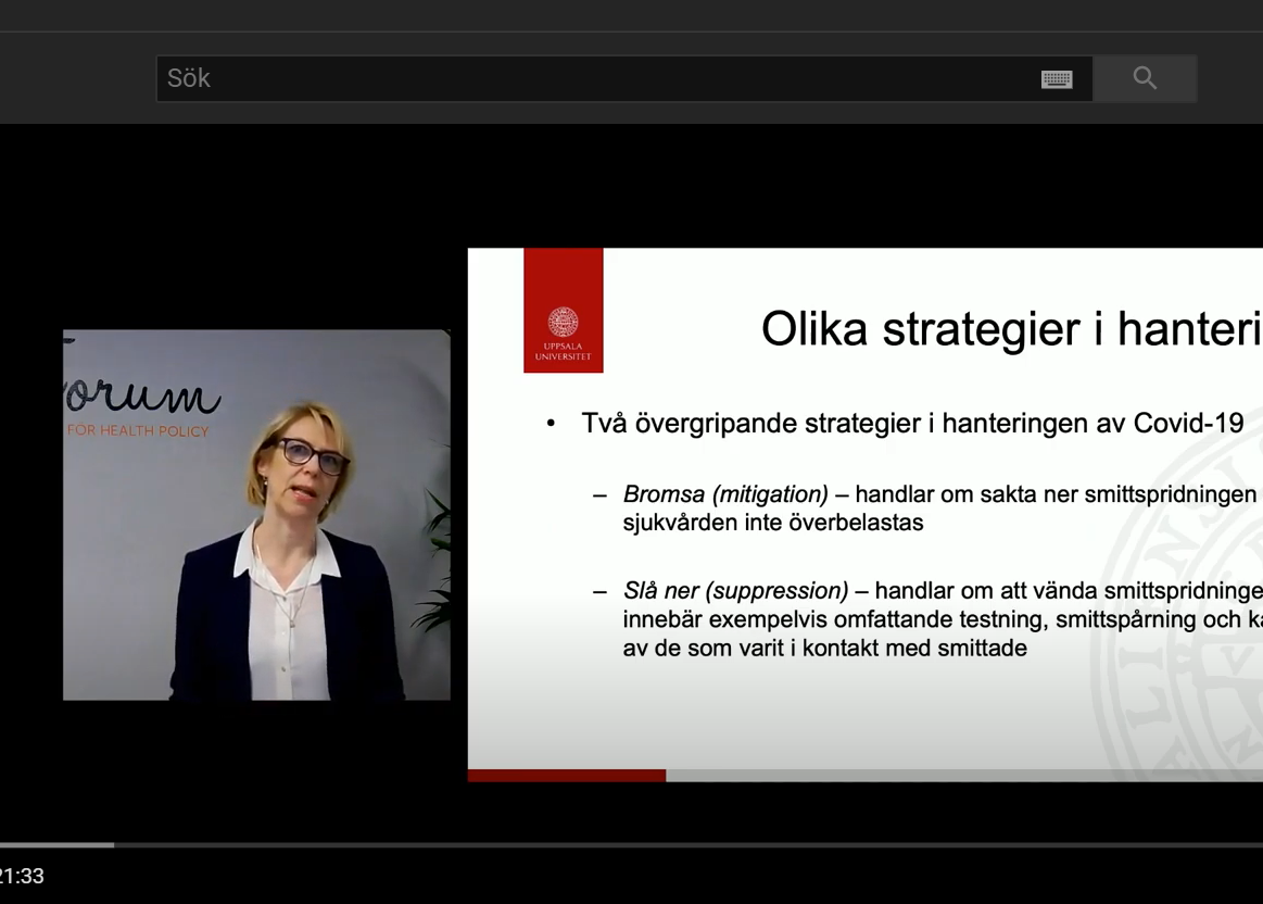 Digital presentation by Ulrika Winblad for Forum för Health Policy